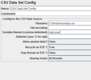 CSV Data Set Config Jmeter