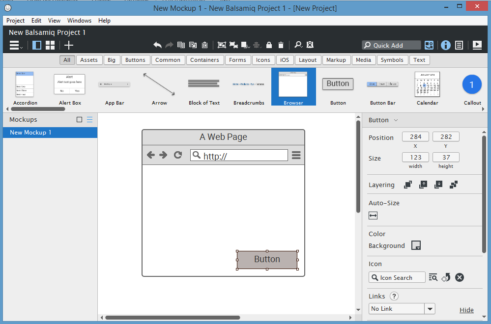 balsamiq prototype Window