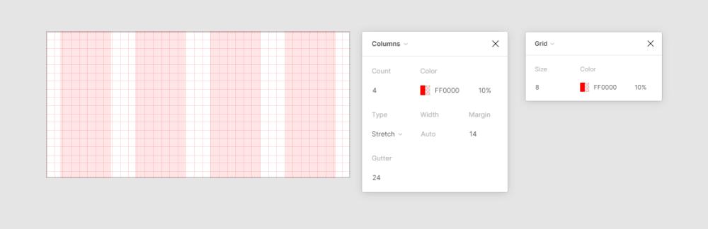 Пример сетки для макетов в моб приложении